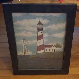 Lighthouse watercolor, black wood frame
